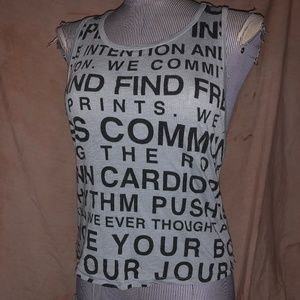 soulcycle gray word print muscle T-shirt top S